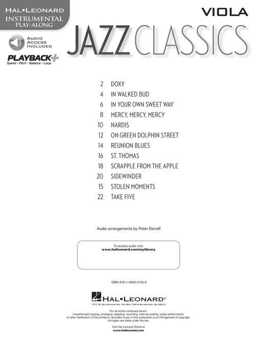 Jazz Classics - Viola - Instrumental Play-Along for Viola Sheet Music - Hal  Leonard - Prima Music