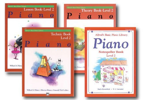 Alfred Basic Piano Library Course Pack Level 2 - Four book set - Includes - Lesson, Theory, Technic and Notespeller Books