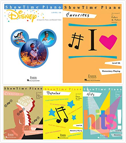 Faber Piano Adventures ShowTime Piano Level 2A Books Set (5 Books) - Disney, Favorites, Classics, Popular, Hits