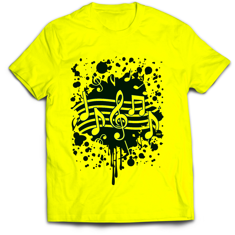 T-Shirt - Neon Yellow W/ Note Splatter (LG)