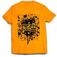 T-Shirt - Neon Orange W/ Note Splatter (LG)